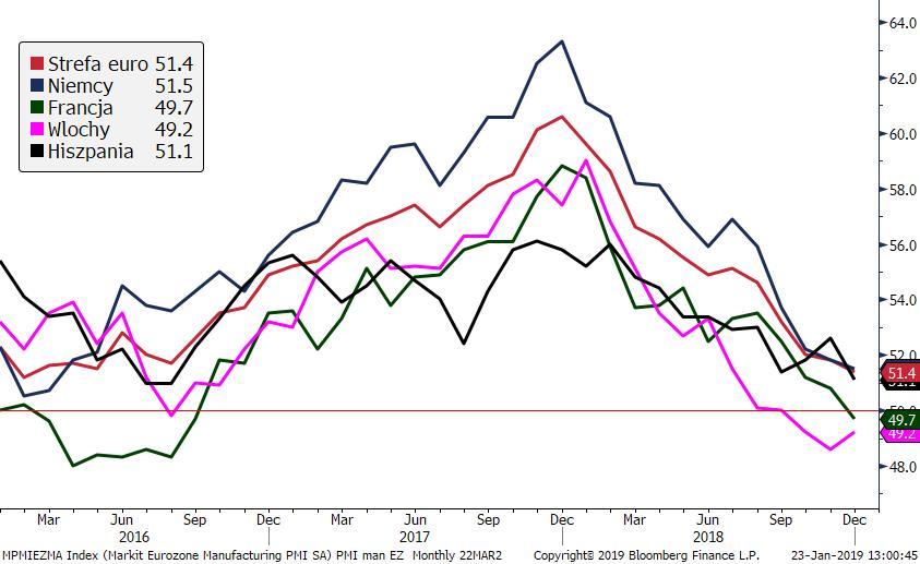 Indeksy PMI dla przemysłu z Eurolandu brzydko zakończyły 2018 r.; Źródło: Bloomberg, TMS Brokers